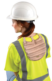Occunomix Miracool 3-In-1 Hard Hat Cooling Pad - Woman with and Occunomix Tan back cooling pad attached to the back of her shirt