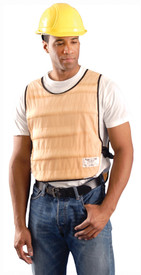 Occunomix 100% Cotton Pullover Miracool Cooling Vest - Man wearing Occunomix beige pullover padded vest with adjustable side buckles and straps