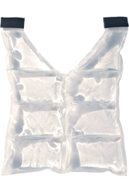 Occunomix Spare Cooling Packs for FR Insulated Cooling Vest - Occunomix clear gel pack with a v neck shirt  shape. Front Area is divided into 6 equal gel pouches and shoulder areas have 2 black Velcro tabs