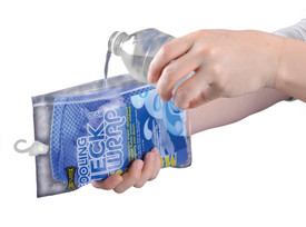 Occunomix Miracool Reusable Cooling Neck Wrap - Occunomix Someone pouring water from a bottle into an Insulated water refillable packet with zipper and top hook