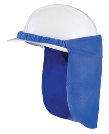 Occunomix Miracool Blue Neck Shade - Occunomix Blue hard  shade attached to white hard hat. Shade drops down over ear and neck area and attached to hard hat with elastic wrapped around the hard hat