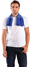 Occunomix Miracool 2-In-1 Terry Cloth & Cooling Towel - Man with Large Occunomix Blue cooling towelette wrapped around his neck