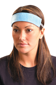 Occunomix No Water Soft SweatBand - Girl wearing Occunomix blue disposable sweatband on her forehead