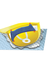 Occunomix Terry Cloth Clip On Hard Hat Sweatband - Graphic Image of Occunomix hard hat sweatband inside hard hat with arrows showing where you fold over to attach the sweatband to the hard hat with clips