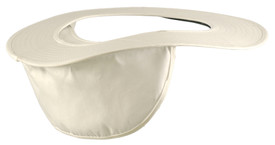Occunomix Poly/Cotton Hard Hat Shade  - Occunomix White hard hat shade with cut out area to fit over hard hat and hanging material to drape and cover neck