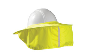 Occunomix Extended Length Stow Away Hard Hat Shade  - Occunomix High visibility yellow hard hat shade fitted over white hard hat with yellow material hanging for shade