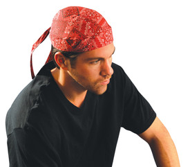 Occunomix Tie Hat Doo Rag - Occunomix Red bandana head covering with back tie