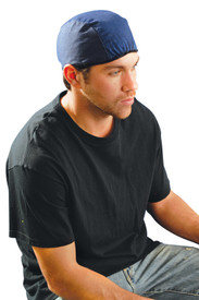 Occunomix Cotton Beanie - Man wearing Occunomix Blue head beanie cap with elastic