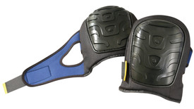 Occunomix Premium Hard Gel Injected Foam Knee Pad - Occunomix Black hard knee cap pads on black material and blue fabric wraps around leg for hook & loop closure