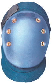 Occunomix Wide PVC Flexible Foam Padded Knee Pad - Occunomix oval hard Blue cap knee pad on molded blue fabric Velcro hook & loop