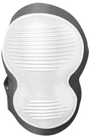 Occunomix Molded Rubber Gripping Ridge Knee Pad - Occunomix White ribbed hard cap knee pad on black curved molded material with 2 black Velcro adjustable hook & loop straps