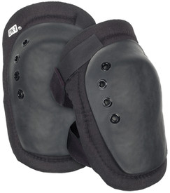 Occunomix Large Cap Knee Protector - Occunomix oval and beveled Black hard cap knee pads on black beveled material with Velcro hook & Loop straps