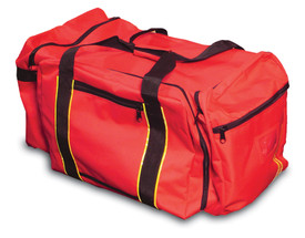 Occunomix Firefighter Reflective Large Gear Bag  - Occunomix Red large gear bag with multiple external zipper pockets, main handle and large shoulder strap
