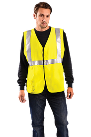 Occunomix Class 2 CAT 2 FR Solid Safety Vest - Man wearing Occunomix High visibility yellow solid vest with hook & loop closure, 1 lower outside right pocket and 1 silver reflective tape placed horizontal around vest under arms and silver reflective tape going up the front and over both shoulders.