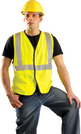 Occunomix FR CAT 2 Class 2 Solid Single Stripe Safety Vest - Man wearing Occunomix High visibility yellow solid vest with hook & loop closure, 1 lower outside right pocket and 1 silver reflective tape placed horizontal around vest under arms and silver reflective tape going up the front and over both shoulders.