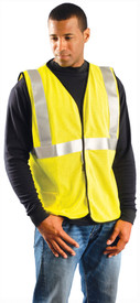 Occunomix FR CAT 2 Class 2 Mesh Single Stripe Safety Vest - Man wearing Occunomix High visibility yellow mesh vest with hook & loop closure, 1 lower outside right pocket and 1 silver reflective tape placed horizontal around vest under arms and silver reflective tape going up the front and over both shoulders.