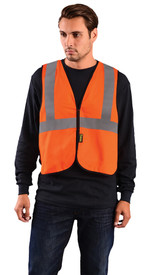 Occunomix FR CAT 1 NON-ANSI Single Stripe Safety Vest - Man wearing Occunomix High visibility orange solid vest with hook & loop closure, silver reflective tape placed horizontal around vest under arms and silver reflective tape going up the front and over both shoulders.