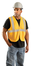 Occunomix NON-ANSI FR CAT 1/HRC1 Solid Yellow Safety Vest - Man wearing Occunomix High visibility yellow solid vest with hook & loop closure, silver reflective tape placed horizontal around vest under arms and silver reflective tape going up the front and over both shoulders.