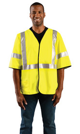 Occunomix FR CAT 1 Class 3 Half Sleeve Safety Vest - Man wearing Occunomix High visibility yellow solid vest with sleeve, hook & loop closure, silver reflective tape placed horizontal around vest at mid section, silver reflective tape going up the front and over both shoulders and silver reflective tape around both sleeves