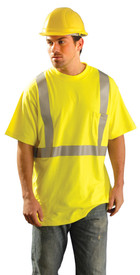 Occunomix Flame Resistant CAT 2 Class 2 Long Sleeve T-Shirt - Man wearing Occunomix High visibility yellow short sleeve T-shirt with silver reflective tape around shirt and silver reflective tape going up front of shirt and over both shoulders