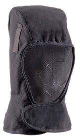 Occunomix 3 Layers FR CAT 3 Thinsulate Lined Shoulder Sherpa - Dark Navy Occunomix flame resistant Balaclava winter liner with navy interior lining, covering down to shoulder length and a large Velcro flap covering neck area