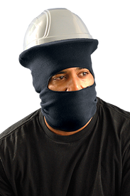 Occunomix Full Face FR CAT 2 Hard Hat Tube Liner - Man wearing Occunomix 1 piece material head protector with full face exposure and neck protection