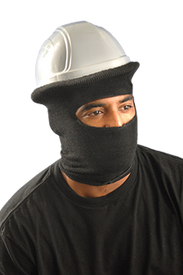 Occunomix Nomex Full Face FR CAT 2 Hard Hat Tube Liner - Occunomix Man wearing Occunomix FR Full Face Tube Liner with top wrapped over hard hat covering his entire face and wrapped under his chin with only the man's eyes in view through the round hole in the tube liner