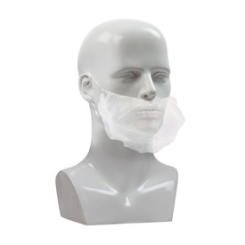 PIP Disposable White Beard Cover - Clear disposable elastic fit beard safety beard guard.