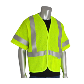 PIP ANSI Class 3 Mesh FR NFPA Vest - High visibility yellow mesh short sleeve vest with silver reflective strips over the shoulders and around the waist.