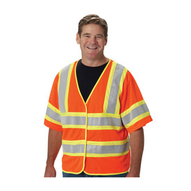 PIP 2-Tone Class 3 FR Treated 2 Pockets Safety Vest - Orange and yellow high visibility safety short sleeve mesh vest with hook and loop closure and reflective strips.