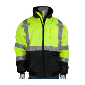 PIP Waterproof ANSI 3 Lower Black Construction Bomber Jacket - High visibility yellow and black safety jacket with front zipper, elastic wrists, collar, and reflective strips.