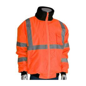 PIP 2 in 1 Class 3 Removable Fleece Liner Bomber Jacket - High visibility orange safety jacket with front zipper, elastic wrists, closed collar, and reflective silver strips around the chest, wrists, and over the shoulders.