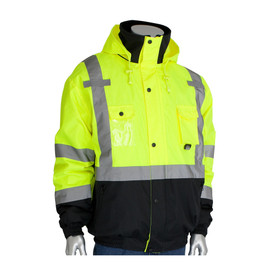 PIP Best Seller Zip Out Fleece Liner Class 3 Bomber Jacket - High visibility yellow safety work jacket with contrasting black bottom and reflective silver strips across the waist, wrists, elbows, and over the shoulders. Front buttoned and zippered, with multiple pockets and an open collar showing the inside layer.