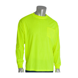 PIP Non-ANSI Long Sleeve Lightweight Hi-Viz T-Shirt - High visibility yellow long sleeve shirt with front pocket and elastic fabric wrists.