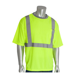 PIP NON-ANSI Chest Pocket Short Sleeve T-Shirt - High visibility yellow safety work short sleeve shirt with front pocket and reflective strips over the shoulders and around the waist.