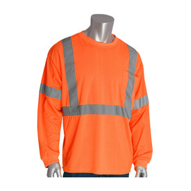 PIP Hi-Viz Crew Neck Class 3 Long Sleeve Lightweight T-Shirt - High visibility orange long sleeve safety work shirt with front pocket and reflective strips around waist and over shoulders.