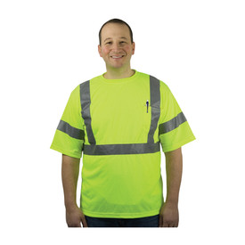 PIP Class 3 CAN/CSA Z96 X on Back Short Sleeve T-Shirt - High visibility yellow short sleeve safety work shirt with front pocket and reflective strips around the waist, arms, and over the shoulders.