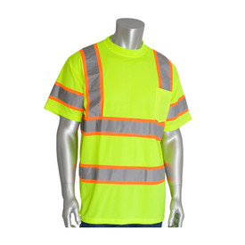 PIP 2 Tone Tape Class 3 Short Sleeve Crew Neck T-Shirt - High visibility yellow safety work shirt with high contrast silver on orange strips across the chest, waist, arms, and over the shoulders, with front pocket.
