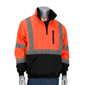 PIP ANSI 3 Durable 1 Pocket Crew Neck Short Sleeve T-Shirt - High visibility orange and black safety pullover sweatshirt with quarter zip, collar, front pockets, and silver reflective strips, two around the arms, one around the waist and over the shoulders. Contrasting black bottom and cuffs.