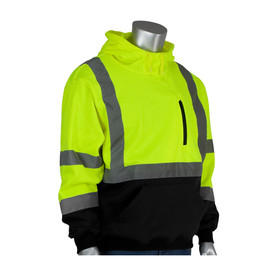 PIP Hi-Viz Pullover Hoodie Sweatshirt Font Pocket Class 3 - High visibility yellow and black safety work sweatshirt with hood, front pockets, and reflective strips around the waist, elbows, arms, and over the shoulders.