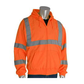 PIP Class 3 Hi-Viz Zippered Front Hoodie Sweatshirt - High visibility orange front zippered hoodie sweatshirt with drawstring hood, front pockets, and reflective strips around the chest, forearms, elbows, and over the shoulders.