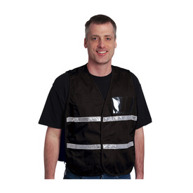 PIP NON-ANSI Incident Command Hook & Loop Solid Safety Vest - Dark black hook and loop closure safety work vest with front pocket, reflective strips, and clear ID pouch.