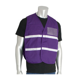 PIP NON-ANSI Incident Command Hook & Loop Gloss Tape Vest - Purple hook and loop closure safety work vest with front pocket, reflective strips, and clear ID pouch.