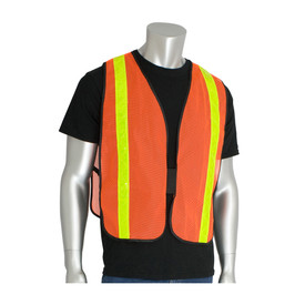PIP NON-ANSI Mesh Hook & Loop 1 Pocket Safety Vest - Orange mesh expandable safety work vest with yellow high visibility strips over the shoulders and down the front.
