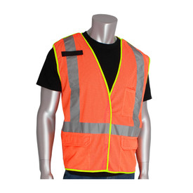 PIP ANSI 2 Mesh 5 Point Breakaway X Back Safety Vest - High visibility orange safety mesh work vest with yellow trim and reflective strips along the waist and over the shoulders. Also has three front pockets and mic tab on right shoulder.