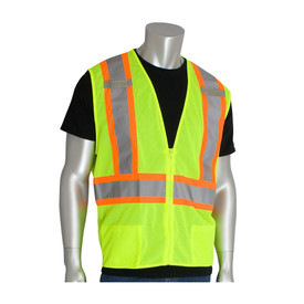 Surveyor 2 Tone Class 3 Mesh & Solid 11 Pocket Vest by PIP - High visibility yellow front zippered mesh safety vest with two front pockets, two mic tabs, and reflective silver on orange strips around the waist and over the shoulders.