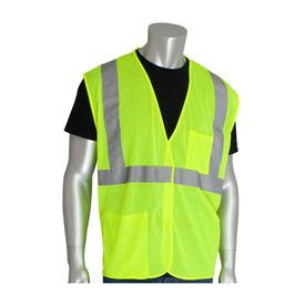 PIP Value Class 2 Mesh 2 Pocket Safety Vest - High visibility yellow mesh hook and loop closure safety vest with front pockets and reflective strips around the waist and over the shoulders.