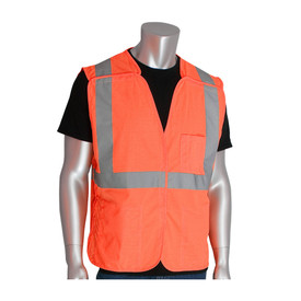 PIP 3 Pocket Breakaway Class Solid Hook & Loop Safety Vest - High visibility orange mesh hook and loop closure safety vest with front pockets and reflective strips around the waist and over the shoulders.