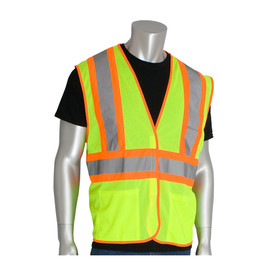 PIP Class 2 Mesh 2 Tone 3 Pocket Safety Vest - High visibility yellow and orange mesh safety vest with front pockets and reflective strips around the waist and over the shoulders.