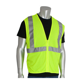 PIP Value Class 2 Mesh 4 Pockets Zipper Vest - High visibility yellow mesh zippered safety vest with reflective strips on chest and shoulders.